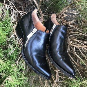 Frye Black Zip Ankle Booties